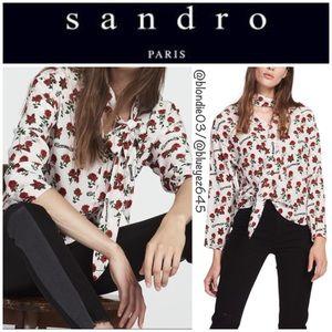 "Sandro ""Bessie"" rose Print silk sash top 1 (US S)"
